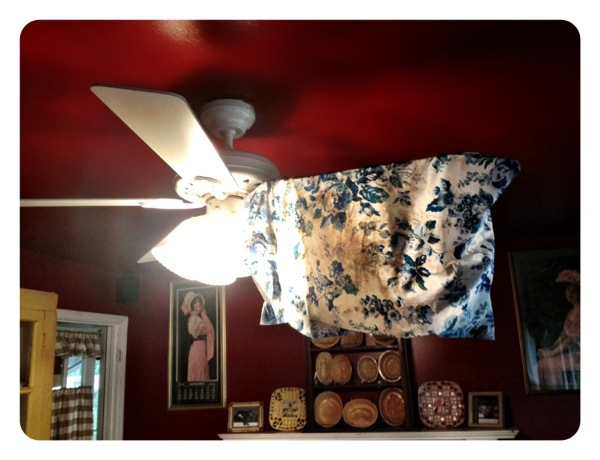 Use an old pillowcase to clean your ceiling fan blades!  No more dust bunnies flying everywhere!