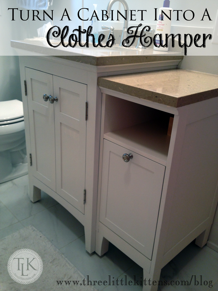 Turn A Cabinet Into a Clothes Hamper on threelittlekittens.com/blog