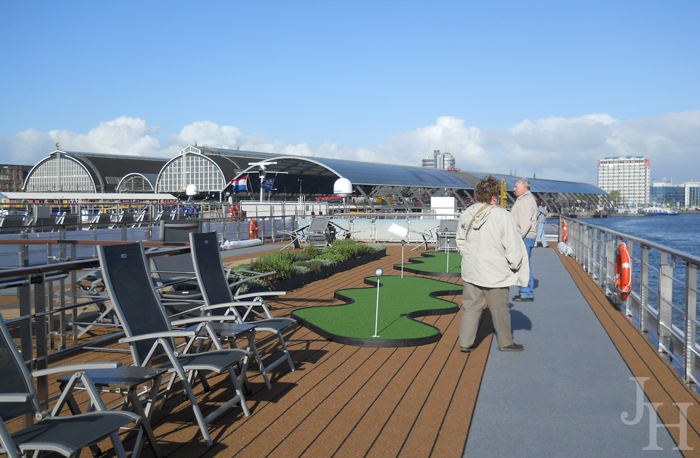Putting Green, Herb Garden and Walking Track on top deck of our ship the Ingvi