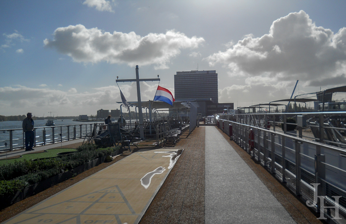Shuffleboard and walking path on the top deck of the Viking longship Ingvi