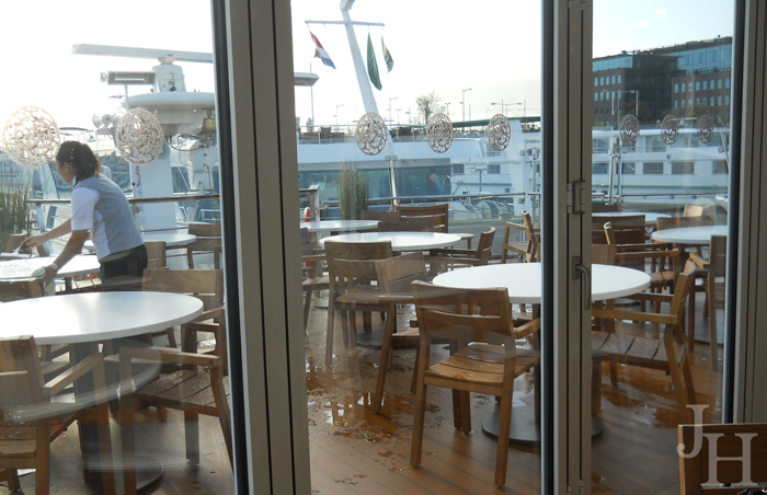 Looking out from the Aquavit Lounge to the middle deck on the front of our ship the Viking Ingvi