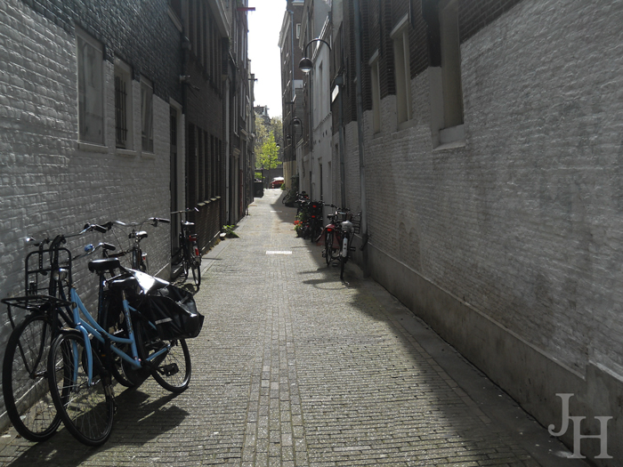 Bicycles in an alley in Amsterdam