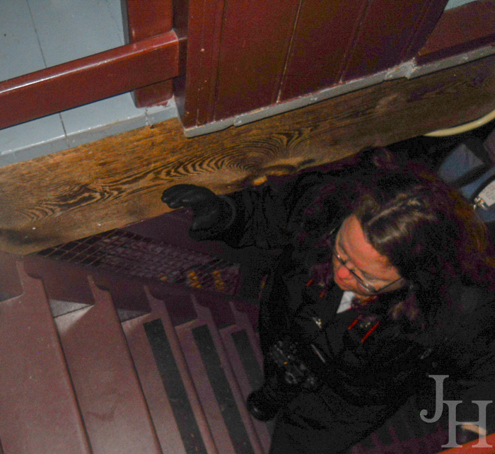 Here I am climbing up a level in the Museum Windmill at Kinderdijk
