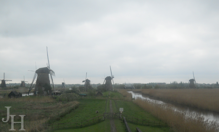 View from an upper window in the Museum Windmill in Kinderdijk