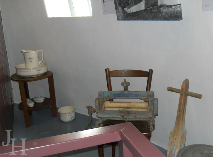 Small area of a bedroom on one of the upper floors in the Museum Windmill in Kinderdijk