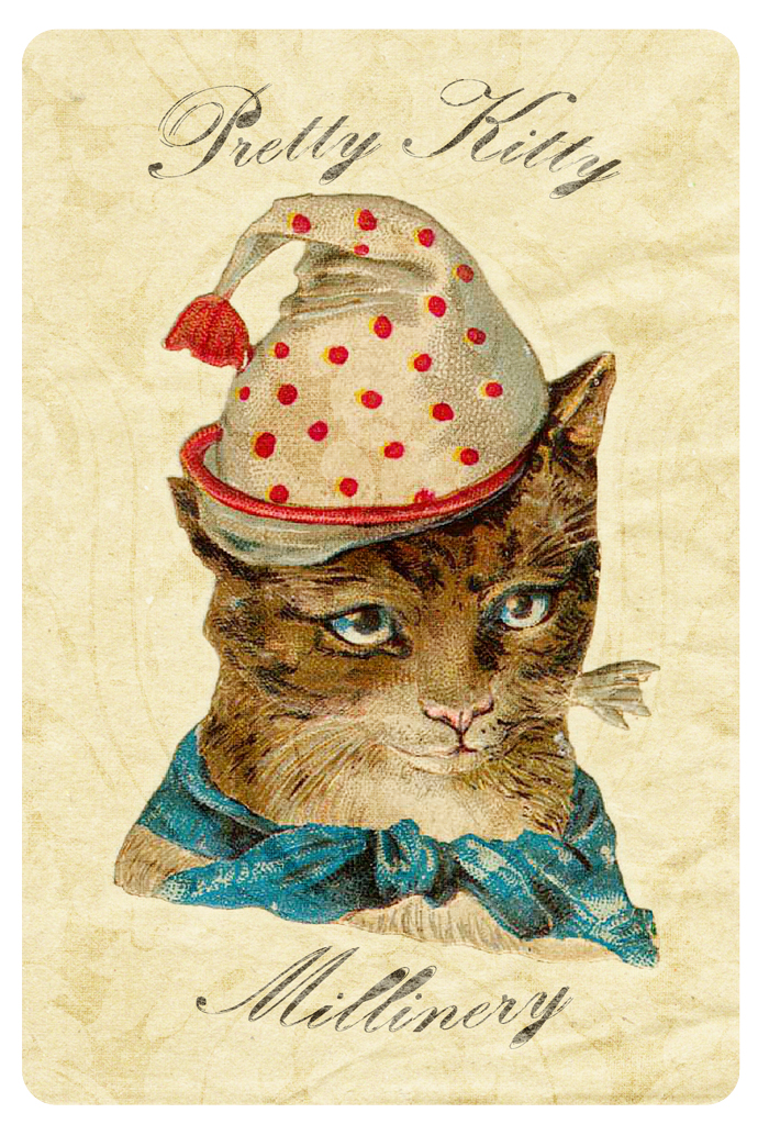Pretty Kitty Millinery Tag Free Printable - Digital Goodie on threelittlekittens.com/blog