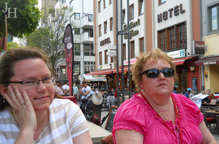 Enjoying a rest break in Cologne with Betsy