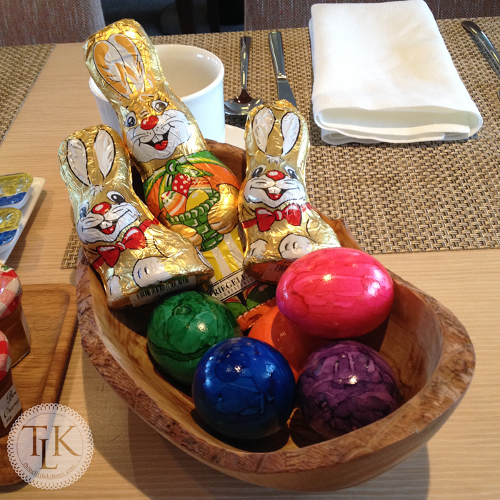 Easter Baskets on each table with delicious chocolate bunnies for each guest on our Viking River Cruise