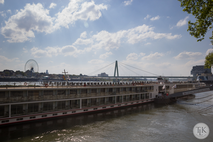 Our longship, the Viking Ingvi docking in Cologne, Germany