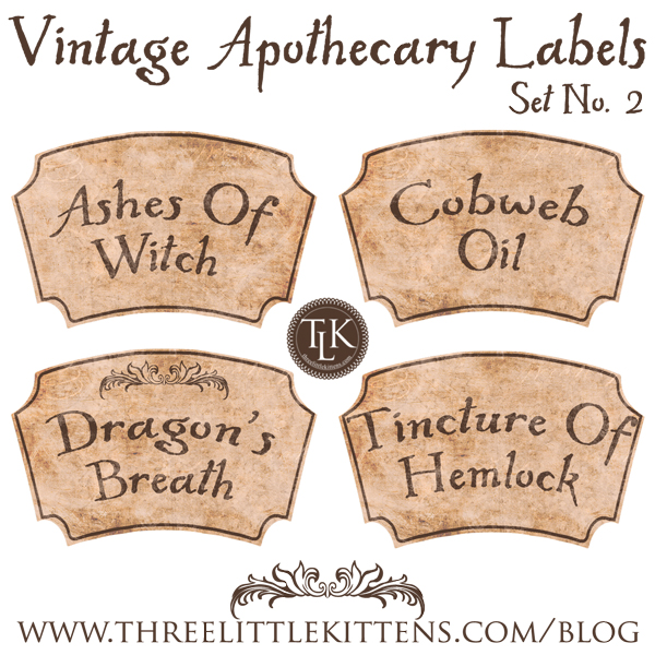 Vintage Apothecary Labels Set 2 Digital Goodie - Free Printable on www.threelittlekittens.com/blog