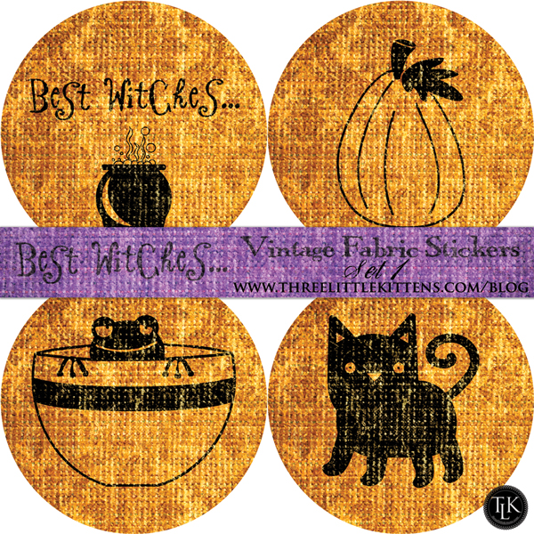 Best Witches Vintage Fabric Halloween Digital Goodies - Free Printables - Stickers on threelittlekittens.com/blog