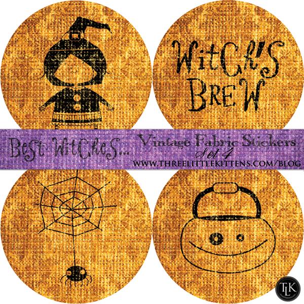Best Witches Vintage Fabric Halloween Digital Goodies - Free Printables - Stickers on threelittlekittens.com/blog