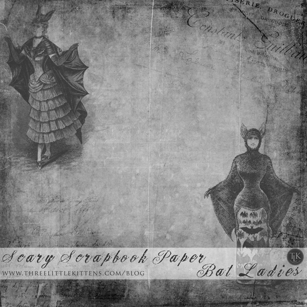 Scary-Scrapbook-Paper-Bat-Ladies on threelittlekittens.com/blog
