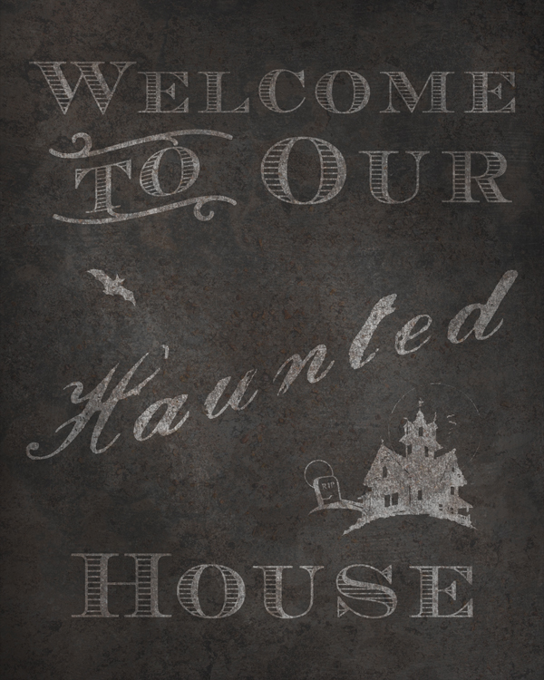 Welcome to Our Hanted House Halloween Digital Goodie - Free Printable Rustic Sign on threelittlekittens.com/blog