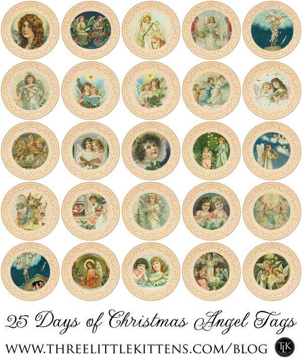 25 Days of Christmas Angel Tags - Free Digital Goodies - on threelittlekittens.com/blog