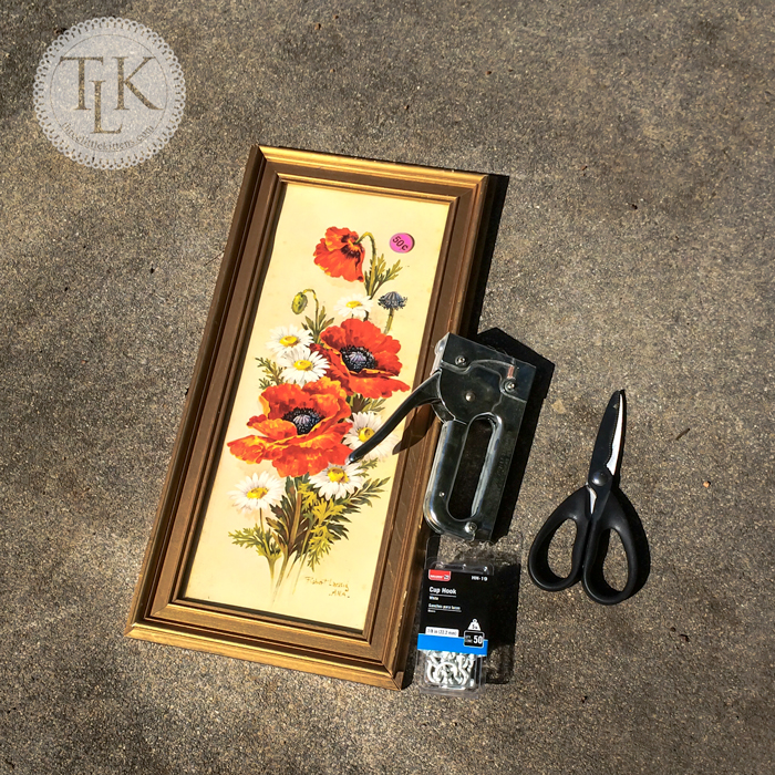 Supplies needed to make upcycled jewelry storage from an old frame