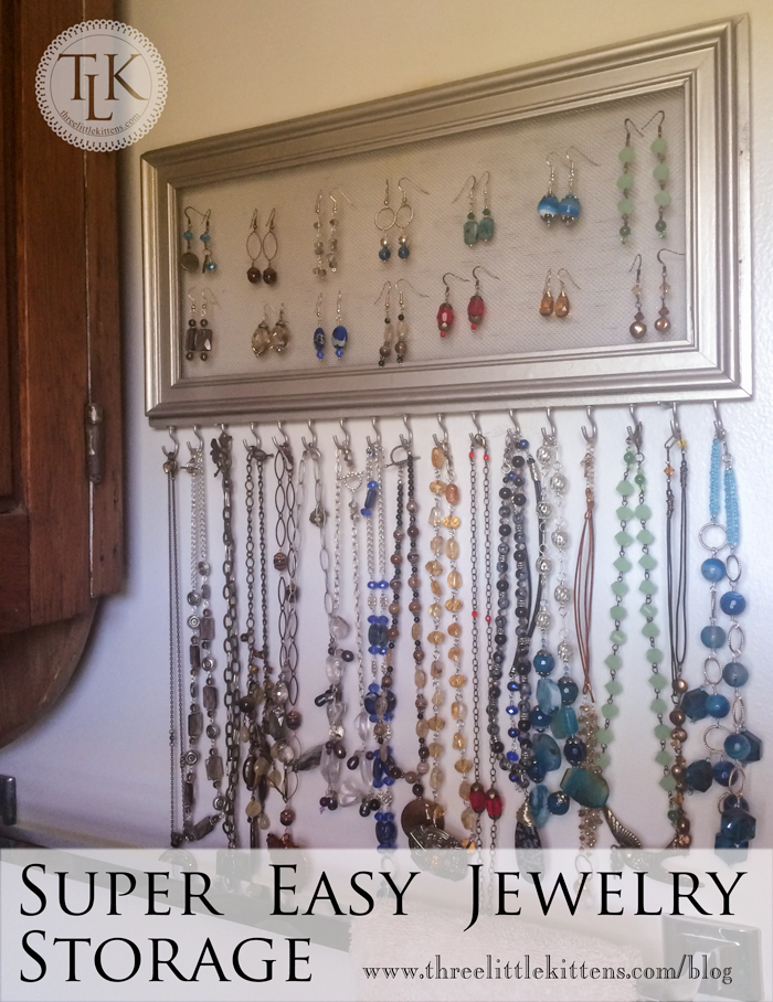 Super Easy Jewelry Storage on www.threelittlekittens.com/blog Use an old frame and a few other supplies to make this upcycled jewelry storage.