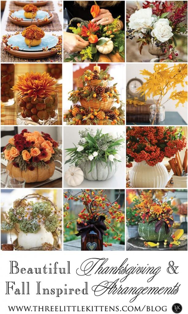Beautiful Thanksgiving and Fall Inspired Arrangements on threelittlekittens.com/blog