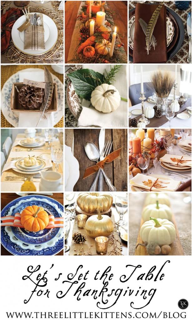 Let's Set the Table for Thanksgiving on threelittlekittens.com/blog