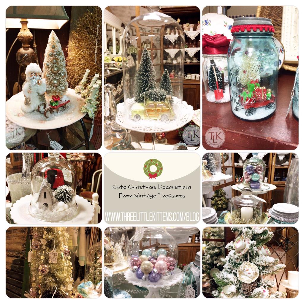 Cute Christmas Decorations From Vintage Treasures on threelittlekittens.com/blog