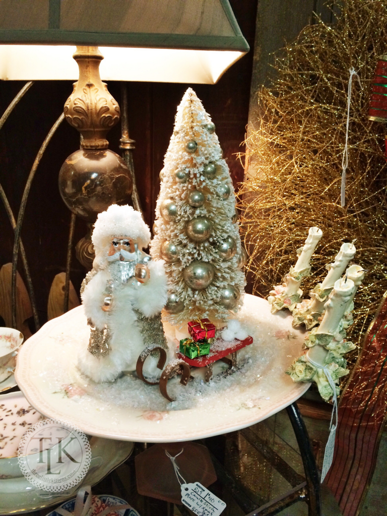 Santa and Bottle Brush Tree on a repurposed Cake Plate