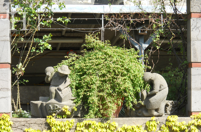 Gargoyles and figurines awaiting work in the garden