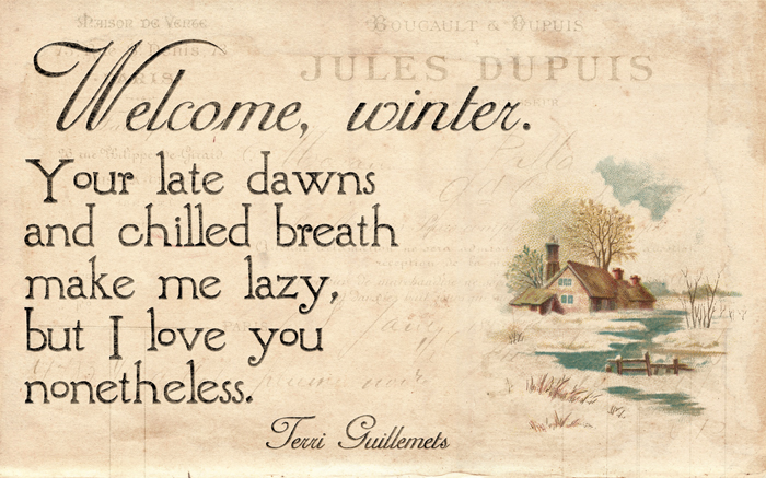 Welcome, winter. Your late dawns and chilled breath make me lazy, but I love you nonetheless. ~ Terri Guillemets