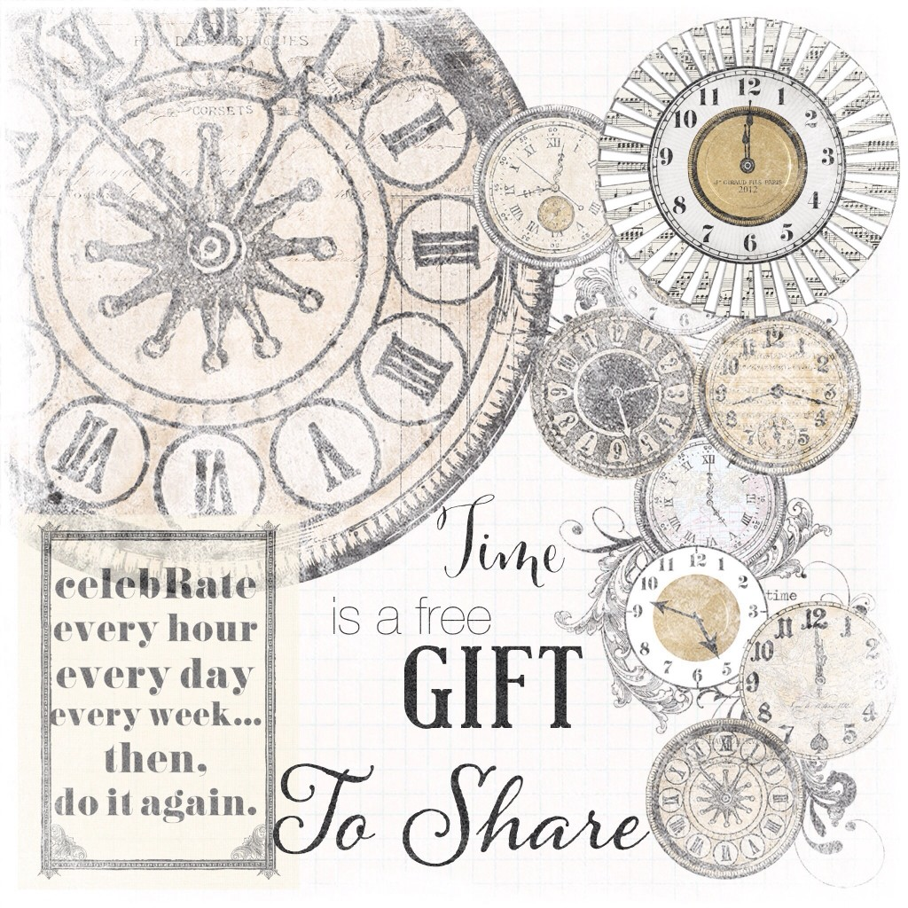 Time is a free gift to share quote on threelittlekittens.com/blog. Free printable - Digital Goodie