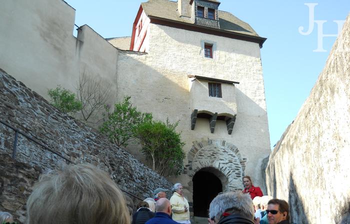 Arriving at the Notches Gate at Marksburg Castle on threelittlekittens.com/blog