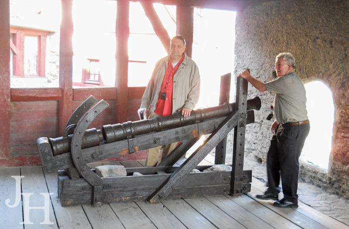 Jerry inspecting the Breech Loader gun