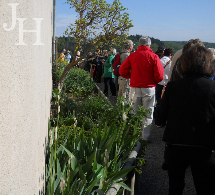 Touring the herb gardens at Marksburg Castle
