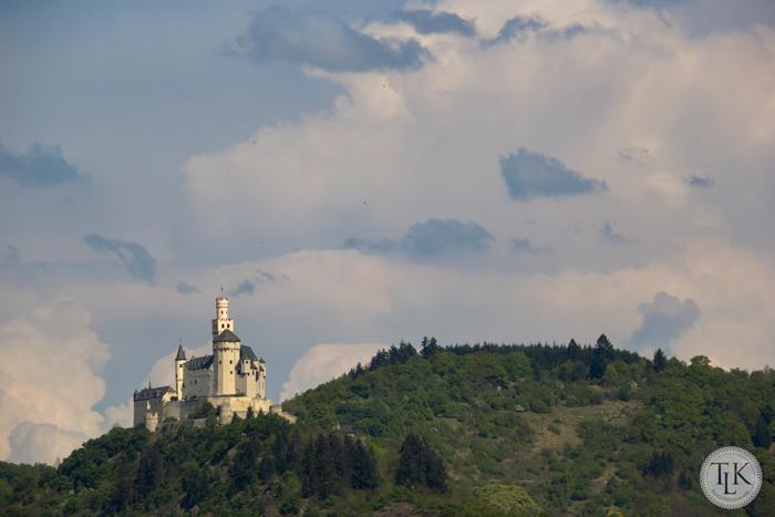 Marksburg Castle from the Rhine near Spay Germany