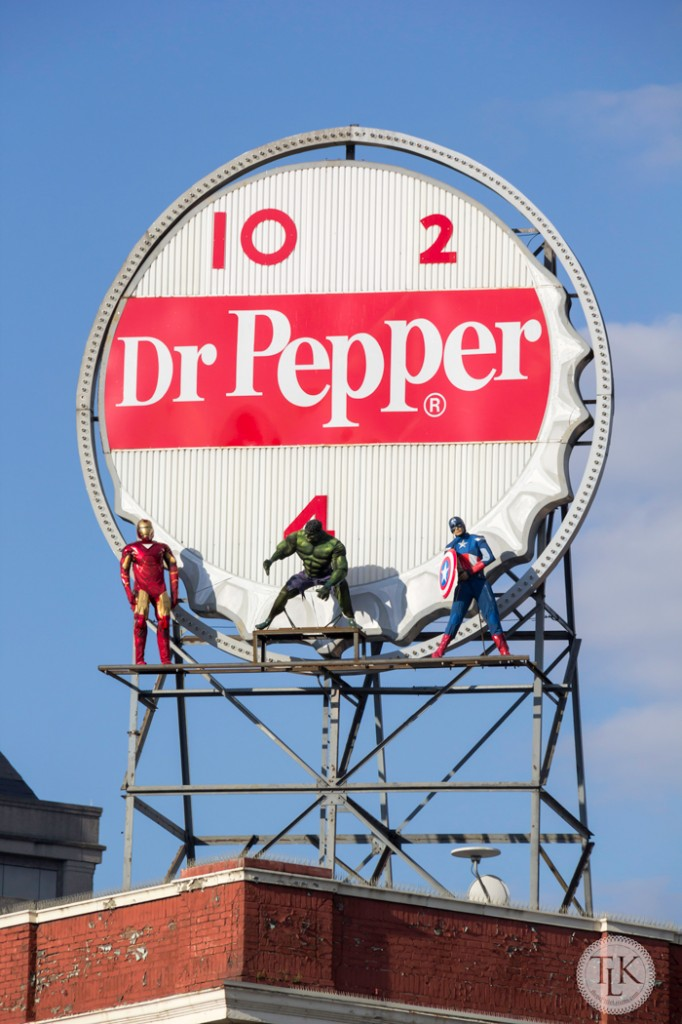 Our town was protected by the Avengers for about a month this spring.  They adorned our landmark Dr. Pepper sign in our downtown.