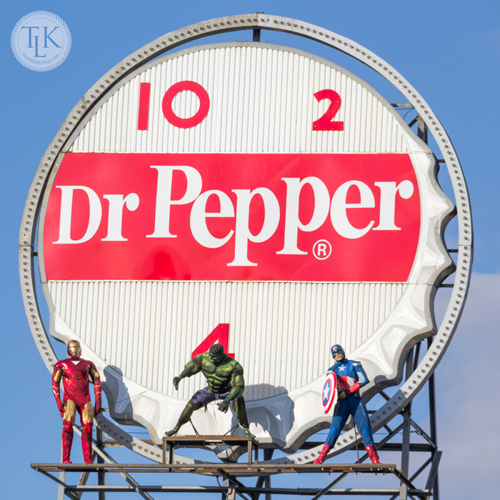 Iron Man, The Hulk and Captain America atop the Dr. Pepper Sign in downtown Roanoke, VA