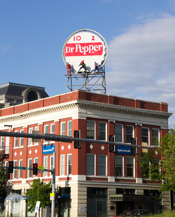 Iconic landmark neon Dr. Pepper sign in downtown Roanoke VA.  The Avengers visited for a month or so to promote their new movie and it made for some great photographs.