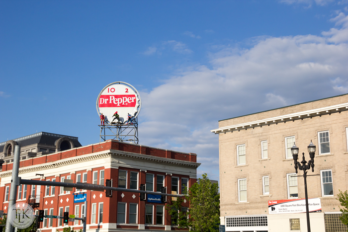 Who is that up on the historic Dr. Pepper sign in Roanoke, VA?  I think it's a few of the Avengers, promoting their new movie.