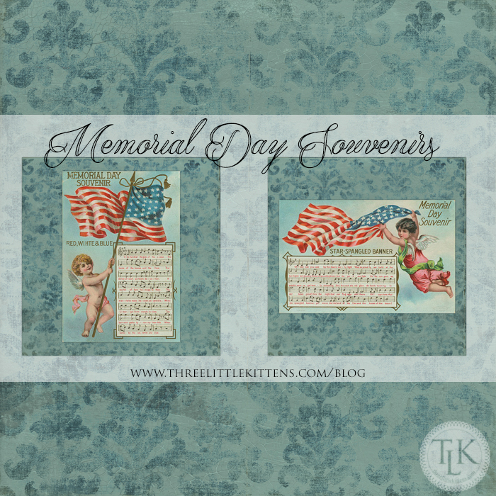 Memorial Day Souvenirs and Vintage Damask Scrapbook Paper - Free Digital Goodies Printables on threelittlekittens.com/blog