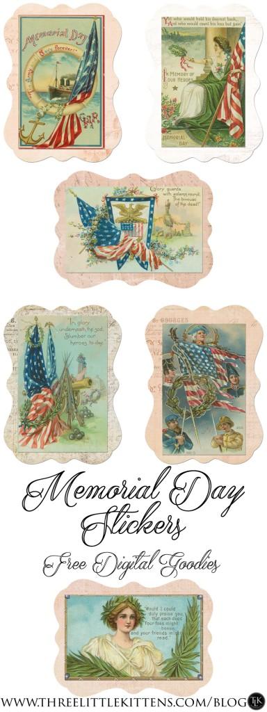 Memorial Day Stickers on threelittlekittens.com/blog - Free Digital Goodies - Free Printables