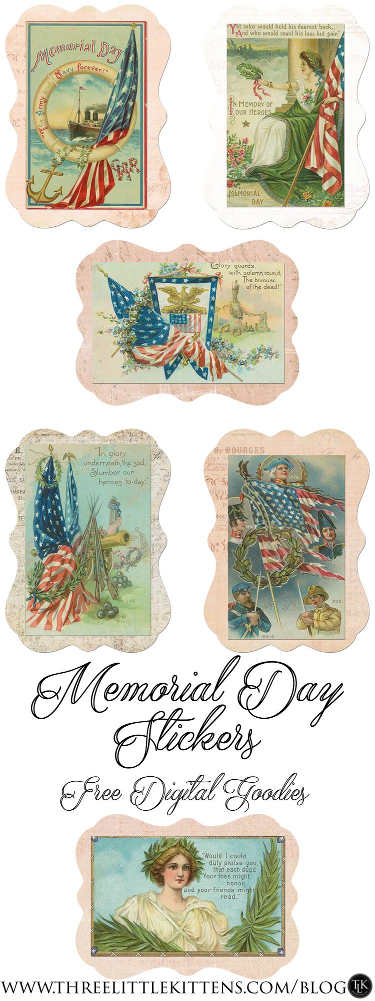 Memorial Day Stickers - DGD - Digtial Goodie Day - Free Printables on threelittlekittens.com/blog