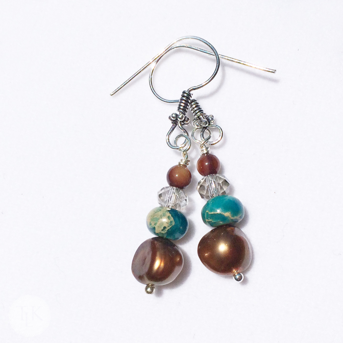 3683e Dyed Imperial Jasper, Copper Freshwater Pearl and Czech Glass Dangly Earrings on threelittlekittens.com/blog