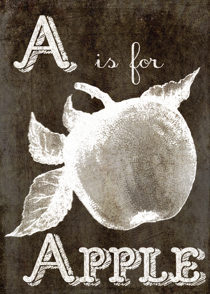 A is for Apple Free Digital Goodie -Printable on threelittlekittens.com/blog