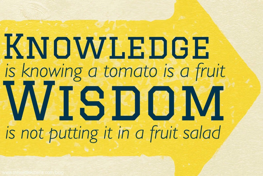 Knowledge is knowing a tomato is a fruit. Wisdom is not putting it in a fruit salad. - A paraprosdokian for you on threelittlekittens.com/blog
