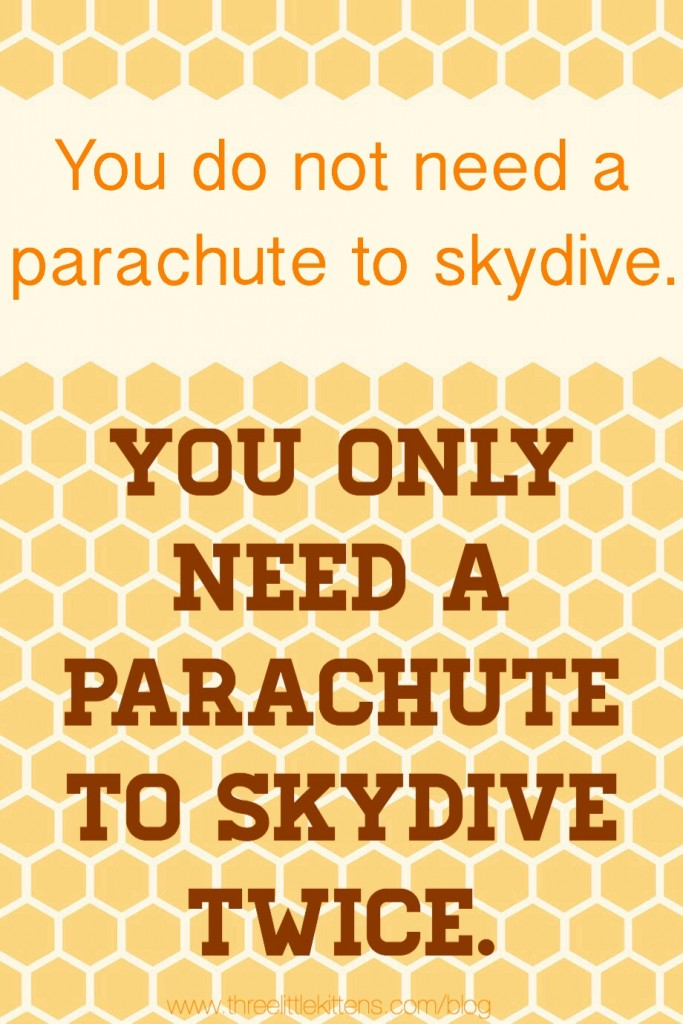 You do not need a parachute to skydive.  You only need a parachute to skydive twice. ~ A paraprosdokain on threelittlekittens.com/blog