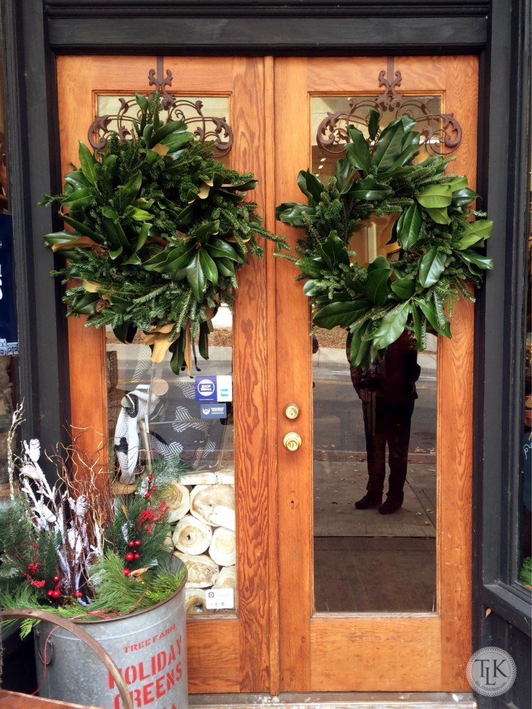 Magnolia Wreaths welcome shoppers to Tink's Place in Roanoke VA on threelittlekittens.com/blog