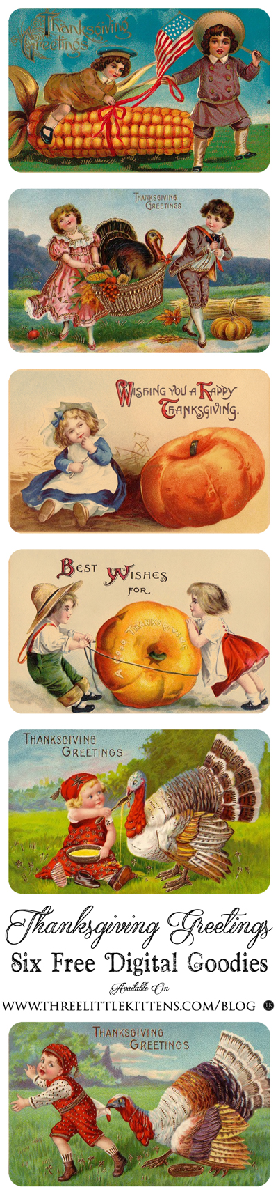 Thanksgiving Greetings - Digital Goodies on threelittlekittens.com/blog - Six different Thanksgiving stickers made from vintage ephemera