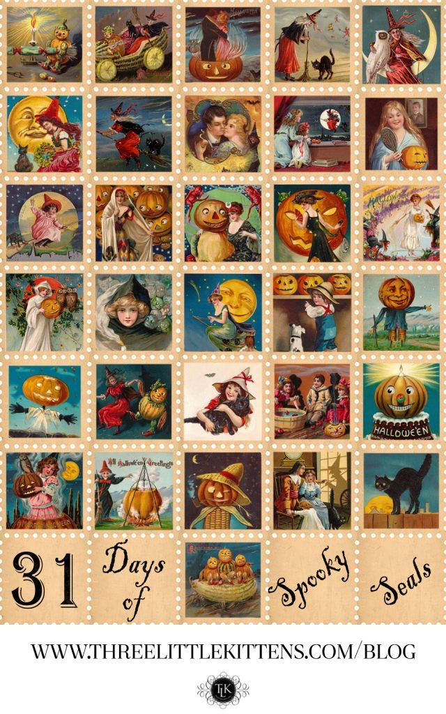 THREE LITTLE KITTENS BLOG | 31 Days of Spooky Seals - Free Digital Goodies - Free Halloween Printables
