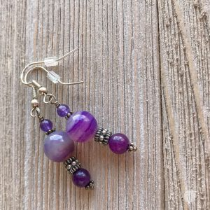 THREE LITTLE KITTENS | 3547e Purple Banded Agate Earrings