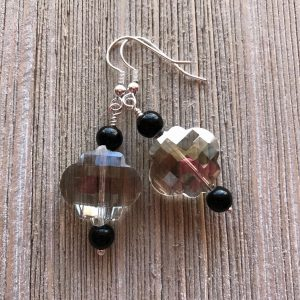 THREE LITTLE KITTENS | 3724e Czech Glass Crystal and Black Obsidian Pierced Earrings