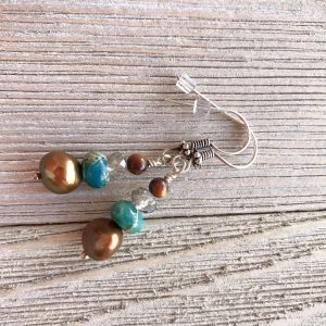 THREE LITTLE KITTENS | 3683e Dyed Imperial Jasper and Copper Freshwater Pearl Pierced Earrings