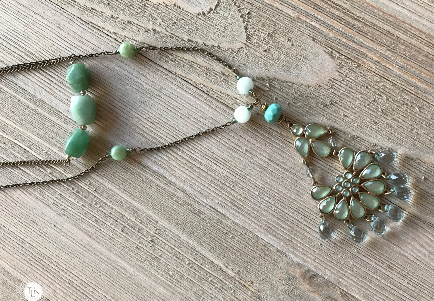 THREE LITTLE KITTENS | 3708n Amazonite and Costume Jewelry Pendant Necklace with 3706n Amazonite Faceted Nugget Bar Necklace